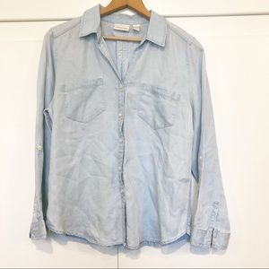 Chico's Button Up Chambray Blue Shirt Size 2 LG